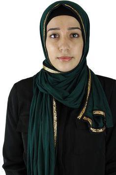 Gold Trim Jersey Hijab - Forest Green
