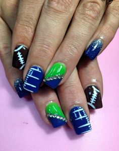 Seattle Seahawks Nails, NFL Nails, Football Nails