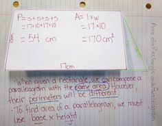 Foldable for math journals that shows the relationship between the perimeter and area of rectangles and parallelograms