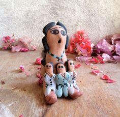 "Signed 4"" tall Jemez Pueblo storyteller pottery by Eva Betoine, vintage Native American Indian pottery art, Jemez seated storyteller pottery"