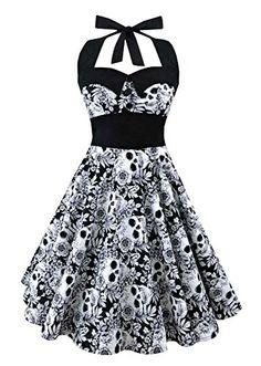 36440da57ec L ZZ Women s Skull Printed Backless Swing Midi Dress Floral Print Halter  Cocktail Dress Plus Size at Amazon Women s Clothing store