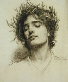 """Drawing With Charcoal classicarte: """"Figure avec une Couronne de Laurier (Figure with a Laurel Wreath) Herbert James Draper """" - Drawing Sketches, Art Drawings, Sketching, Figure Drawings, John Everett Millais, Laurel Wreath, Inspirational Artwork, Realistic Drawings, Awesome Drawings"""