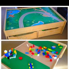 kid kraft train table with a diy added lego plates on other side of table top
