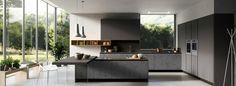 placard de cuisine noire avec îlot central moderne et décoration tendance