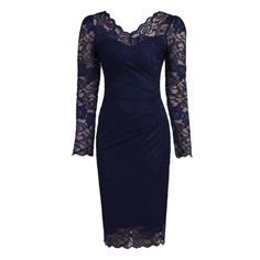 Navy Blue V Neck Long Sleeve Vintage Lace Bodycon Pencil Dress