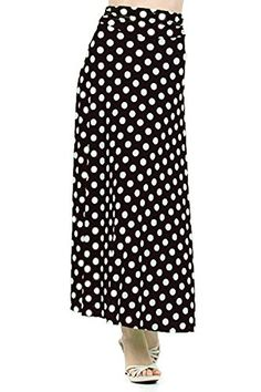 DBG Womens Womens Maxi Long Polka Dots Length Skirts XL Black White * You can get more details by clicking on the image.
