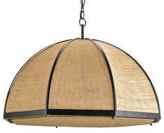 Burlap Pendant measures 28hex x 19H. A classic pendant form with a natural burlap/jute shade speaks of eco-chic. A simple Black wrought iron frame complements the plain and natural fabric. Features three lights. Material: Wrought Iron/Jute Maximum Wattage: 60 per bulb