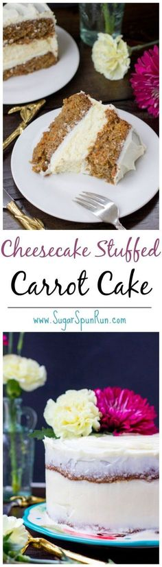 The most amazing carrot cake ever made -- with a layer of real cheesecake in the middle! || Sugar Spun Run via /sugarspunrun/