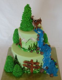 Forest Cake- frost ice cream cones for trees