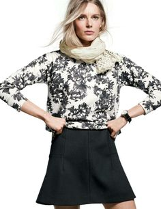 J.Crew sweatshirt in photo floral and linen-cotton crochet trim scarf.- Black and White - May 2014