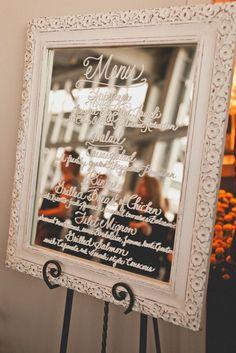 Wedding reception menu idea; Featured Photographer: The Melideos