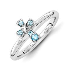 December Birthstone Blue Topaz Sterling Silver Cross Ring - December Birthstone Jewelry