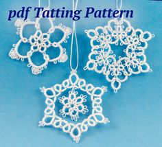 PDF tatting pattern. Three easy little snowflake tatting patterns. Great for beginner tatters.  One of the three patterns uses 2 shuttles, the other