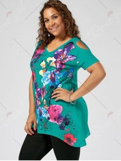 808b2c133fa Splatter Paint Plus Size Cold Shoulder T-shirt