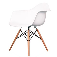 Buy Eames Style White Plastic Retro Armchair from Fusion Living