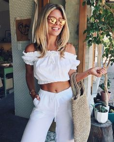 off shoulder top + linen pants