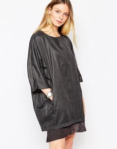 """Casual dress by D.RA Smooth, lined woven fabric Round neckline Slant pockets Soft frill hem Oversized fit - falls generously over the body Hand wash 50% Polyester, 50% Rayon Our model wears a UK S/EU S/US XS and is 178 cm/5'10"""" tall Size down for a closer fit"""