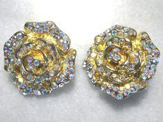Dazzling Earrings Signed Kirks Folly Vintage Rhinestone Clip