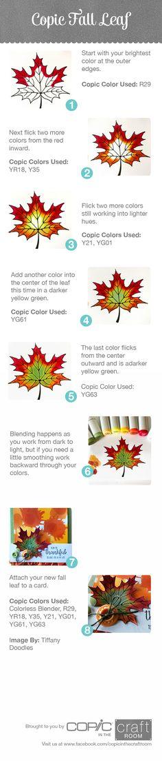Herfstblad kleuren met Copic
