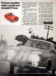 1968 SAAB 96 Coupe original vintage advertisement. With front wheel drive, dual diagonal braking system, 4 cycle V-4 engine and lifetime engine guarantee.