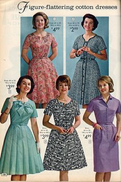 Five lovely daywear dresses from the NBH catalog, 1964.