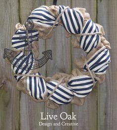Nautical Burlap Wreath - Navy Wreath by LiveOakDesignCreate on Etsy