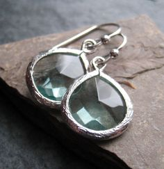 Delicate Aquamarine Glass Drop Earrings