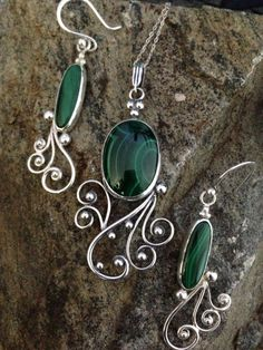 Handmade Green Day Dreamer Earrings Malachite by SallowMoonDesigns