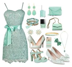 """Minty Fresh"" by lilyboutique on Polyvore featuring Call it SPRING, Kate Spade, Essie, Panacea, Charlotte Russe, Butter London, Rebecca Minkoff, Apt. 9, Casetify and dress"