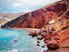 shoreline, red beach, sand, rocks, santorini, greece