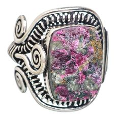 Large Rough Russian Eudialyte 925 Sterling Silver Ring Size 7.75 RING753544
