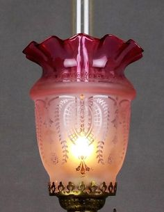 Antique art nouveau cranberry ruby etched glass lamp shade victorian cranberry glass etched kerosene oil gas peg miniature lamp shade mozeypictures Image collections