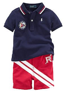 Ralph Lauren Childrenswear Yachting Association Polo and Striped Short Set