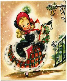 Old Design Shop ~ free printable Christmas card ~ girl with gifts