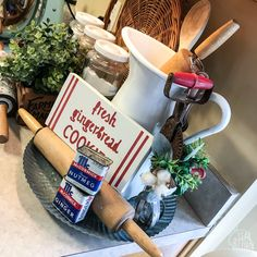 Red and white Christmas farmhouse kitchen decor. Vintage spice tins and hand mixer with cotton stem. Little Christmas Trees, Last Christmas, White Christmas, Kitchen Gallery Wall, Mini Cake Stand, Cow Creamer, Red Plates, Spice Tins, Hand Mixer