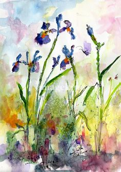 Blue Iris Watercolor by Ginette Callaway