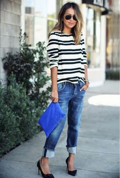 Such a great casual look. Loving the striped shirt with cuffed boyfriend jeans. Stitch fix fall 2016. Stitch fix winter 2016. Fashion trends
