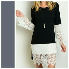 "Black Dress. White Lace Accents. S M L. NWOT Beautiful dress that you can dress up or go for the more boho look. Lace bottom of sleeves and bottom portion of the front. 95% Rayon 5% Spandex.  Length: (S) 33"" (M) 33"" (L) 35"" Armpit to armpit: (S) 17"" (M) 18"" (L) 18"" Waist: (S) 34"" (M) 36"" (L) 36"" Hips: (S) 38"" (M) 39"" (L) 40"" (Measured without stretching) Bo Bel Dresses"