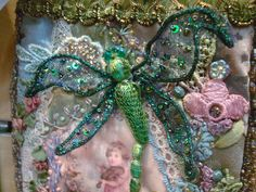 crazy quilting with Kreinik. Dragonfly by Pat Winter using Kreinik Hot Wire wired metallic braid.