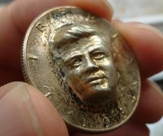 FIRST ISSUE 1964 RAISED SILVER KENNEDY HALF DOLLAR PUNCHED 3-D LTD ISSUE NOVELTY