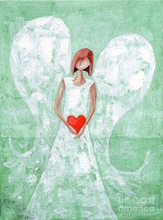 Heart Painting - Heard On High Angel - Mint Green Heart by Annie Troe Pictures To Paint, Art Pictures, Painted Rocks, Hand Painted, Green Paintings, Heart Painting, Special Pictures, Angel Pictures, Flower Canvas