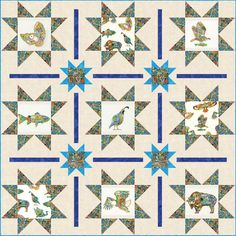 Spirit of the Wild Free Pattern: Robert Kaufman Fabric Company Star Quilts, Easy Quilts, Quilt Patterns Free, Free Pattern, Wildlife Quilts, Fabric Animals, Animal Quilts, Panel Quilts, Cotton Quilting Fabric
