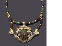 An Egyptian Revival gem-set and enamel necklace,