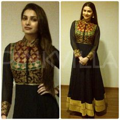 Prachi Desai attended a hotel inauguration in Dhanbad wearing an SVA anarkali. Open hair and golden earrings completed the look. Prachi Desai, Boutique Suits, Salwar Kameez Online, Lehenga Designs, Salwar Suits, Punjabi Suits, Western Outfits, Indian Designer Wear, Indian Dresses