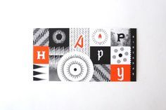 """Scanimation birthday card for donors to the College of Fine Arts at the University of Texas at Austin. 3.5"""" x 8.5"""" with dotted belly band, transparent stripes, and bright orange coin envelope."""