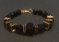 Art Deco Style Bracelet of Black Onyx and Black by CatchyTreasures