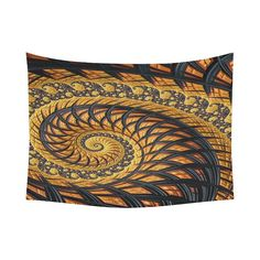 Amazon.com: Fractal Tapestry Wall Art Spiral Yellow And Black Staircase Fractal…
