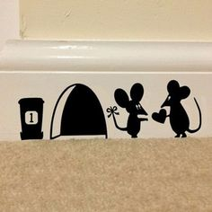 Funny mouse hole wall stickers decals Living room Bedroom wall art wallpaper mural Wedding decorationr is part of bedroom Art Wallpapers - set Hot Sale Cute Mouse Love Heart with Rat Hole Black Wall Stickers Uk, 3d Wall Decals, Wall Decals For Bedroom, Mural Wall Art, Vinyl Wall Decals, Sticker Vinyl, Decals For Walls, Bedroom Decor, Kids Bedroom