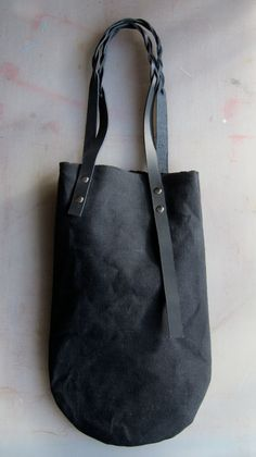 canvas bag black with braided leather handles