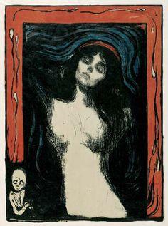 Madonna di Munch.  Quest'opera, di Munch, fu dichiarata scandalosa e immorale.  L'olio su tela, 1894/95 raffigura una donna, in fase di orgasmo. La cornice contiene spermatozoi, che partono da un feto...